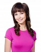 Cheerful Brunette Woman In Rose T-shirt
