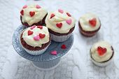 foto of red velvet cake  - Red velvet cupcakes decorated with hearts for Valentines day - JPG