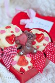 picture of red velvet cake  - Red velvet cupcakes decorated with hearts for Valentines day - JPG