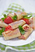 pic of crepes  - Fresh Strawberry Crepes Rolls with Mint for Breakfast - JPG