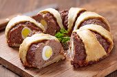 stock photo of meatloaf  - Meatloaf ring stuffed eggs for a Easter - JPG