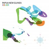 picture of papua new guinea  - Abstract vector color map of Papua New Guinea with transparent paint effect - JPG
