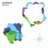 foto of suriname  - Abstract vector color map of Suriname with transparent paint effect - JPG