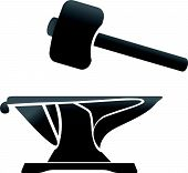 stock photo of anvil  - anvil blacksmith symbol vector illlustration icon sign - JPG
