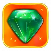 pic of emerald  - Game icon emerald isolated on white background vector illustration - JPG