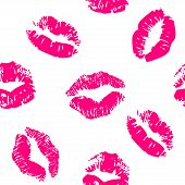 picture of lipstick  - Seamless pattern with a lipstick kiss prints on white background - JPG