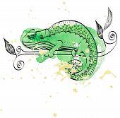 image of chameleon  - Vector hand drawn illustration with cartoon Chameleon - JPG