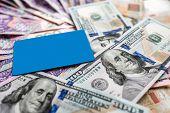 Постер, плакат: Ukrainian and American money