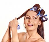 picture of hair curlers  - Happy beautiful woman wear hair curlers on head - JPG