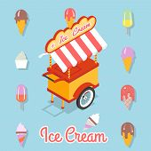 image of ice-cream truck  - Trolley for sale of ice cream - JPG