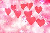 picture of girly  - Love hearts against digitally generated girly heart design - JPG