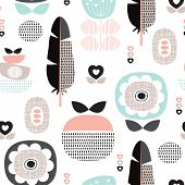 stock photo of feathers  - Seamless retro scandinavian style pastel flowers poppy blossom and feather background pattern in vector - JPG