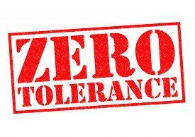 picture of zero  - ZERO TOLERANCE red Rubber Stamp over a white background - JPG