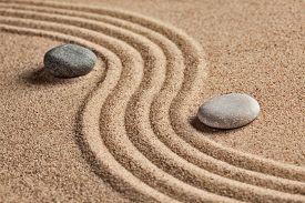 image of garden-art  - Japanese Zen stone garden  - JPG