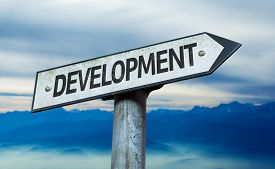 picture of sustainable development  - Development sign with sky background - JPG