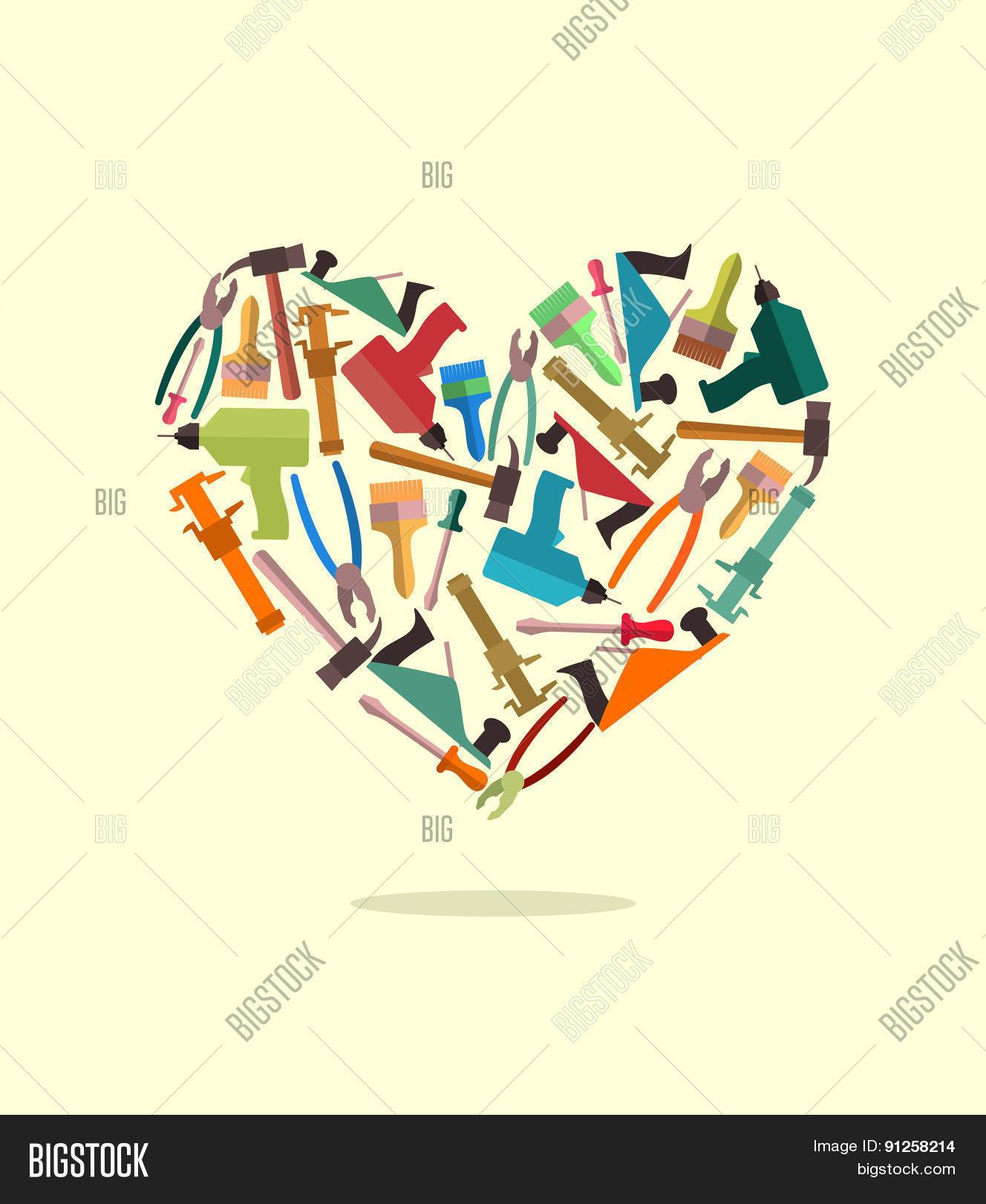 symbol heart construction tools vector u0026 photo bigstock