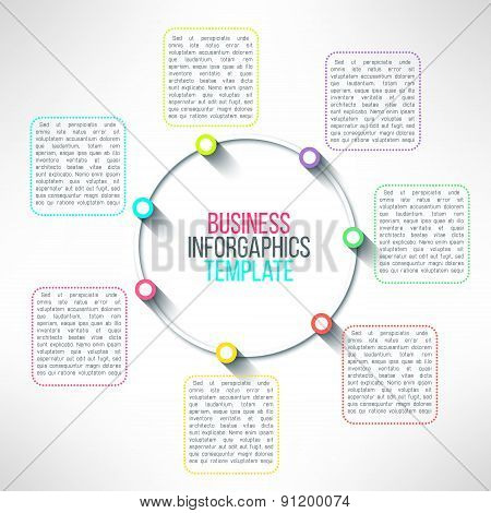 Vector circle process infographics template. Colorful options choice, instruction or presentation el