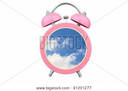 Conceptual Art : Time To Relax : Sky And Cloud Within Pink Alarm Clock Isolated On White Background