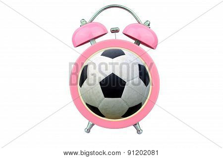 Conceptual Art : Time To Exercise : Ball Within Pink Alarm Clock Isolated On White Background