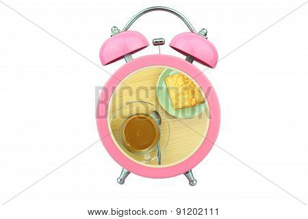 Conceptual Art : Coffee Time : Coffee And Biscuits Within Pink Alarm Clock Isolated On White Backgro