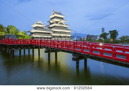 Matsumoto Castle And Red Bridgein Night, Nagono, Japan