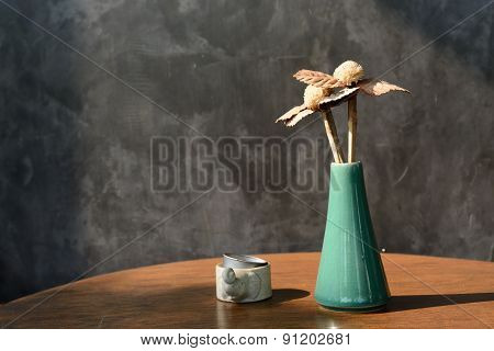 Tropical Dried Flowers In A Vase For Background Usage
