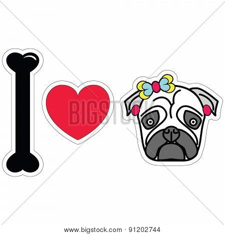 I Love Pug Female Pug With Earnings And A Bow