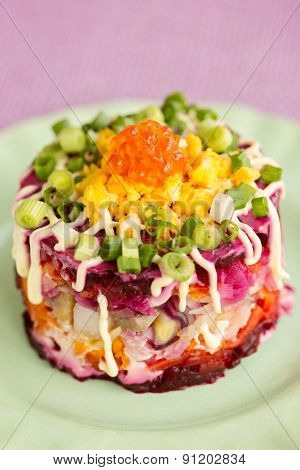 Traditional Russian Herring Salad On Green Plate, Vertical Composition