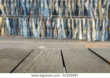 Defocus And Blur Background Of Terrace Wood And Jean Shop On Mar