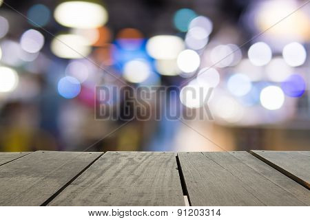 Defocus And Blur Image Of Terrace Wood And Beautiful Abstract Co