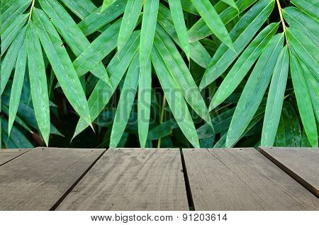 Perspective Terrace Wood And Bamboo Leave For Background Usage