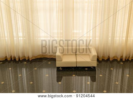 Modern Design Sofa And Large Curtains