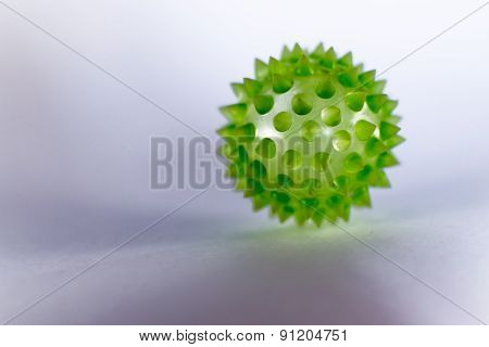 Closeup Of Green Biological Virus With Copyspace