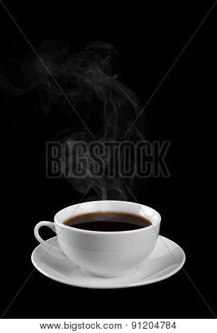 A Cup Of Hot Coffee Isolated On A Black Background. Steam