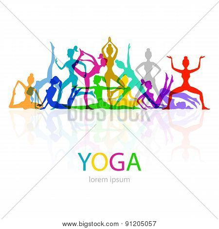 Vector Illustration Of Yoga Poses Woman Silhouette