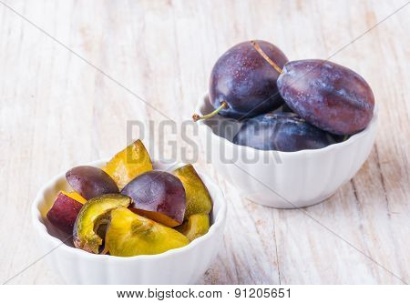 Preparation Of Plums On A Plum Jam. Hungarian Plum In Polish Cuisine.
