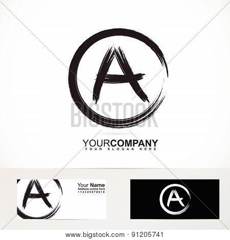 Grunge letter A logo black and white
