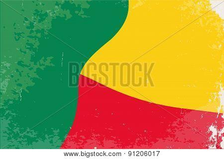 Benin Flag Grunge