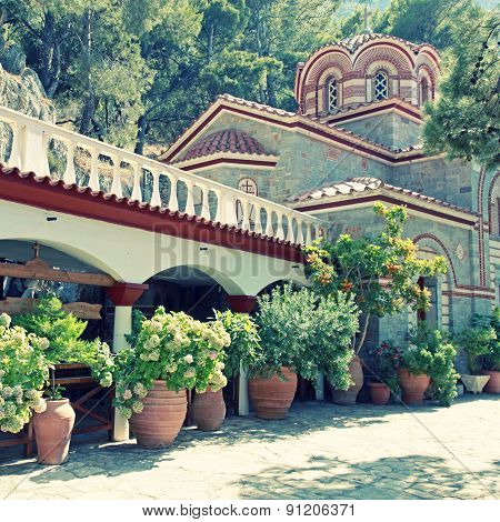 Beautiful Old Garden Of Monastery(Crete, Greece)