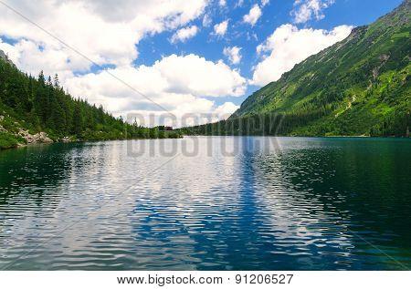 Lake in summer mountains.