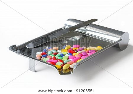 Pills on counting tray.