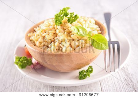bowl of barley grain