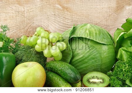 Group Of Green Vegetables And Fruits