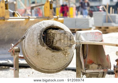 Concrete Mixer On Construction Site