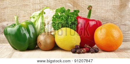 Group Of Vegetables And Fruits Full Of Vitamin C