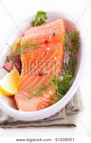 raw salmon and herbs