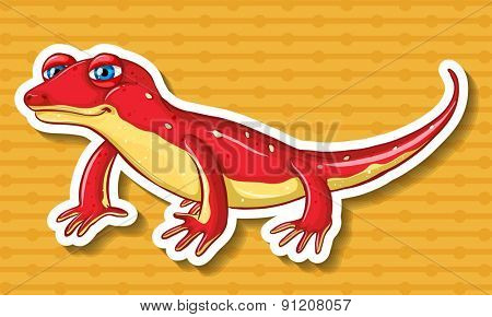 Red lizard on yellow background