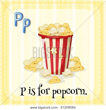 Flashcard letter P is for popcorn