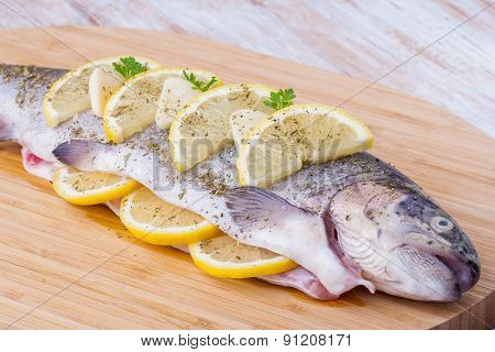 Raw Marinated Trout With Lemon And Herbs