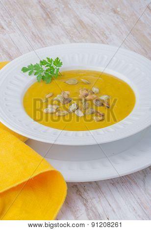 Pumpkin Cream Soup With Roasted Pumpkin Seeds